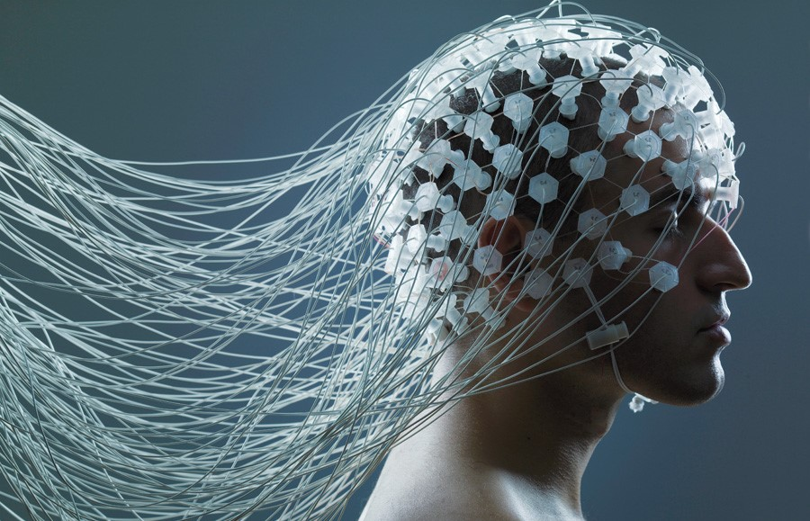 Man with Electrode Wires on Head --- Image by © Adrianna Williams/Corbis